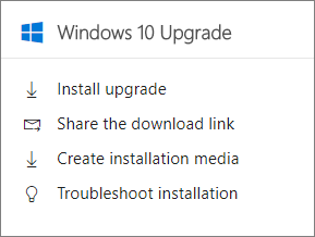 Windows 10 Upgrade card in the admin center.