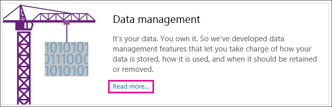 Shows the Data management section of the page with the Read more link highlighted.