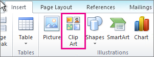 Office 2010 Insert Clip Art