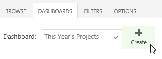 Create button on Dashboards tab