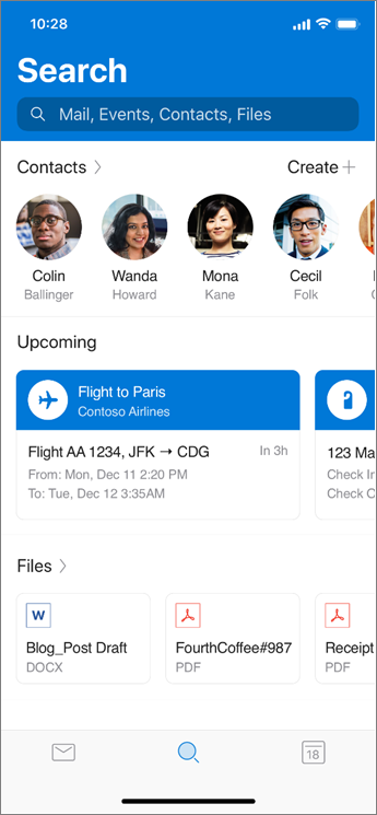 Using Search in Outlook mobile