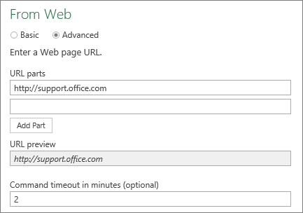 From Web dialog box, Command timeout in minutes box
