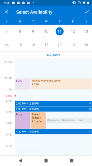 """Shows a calendar on an Android screen. Above the calendar, it says """"Select Availability"""" and there's a checkmark button to the right of that."""