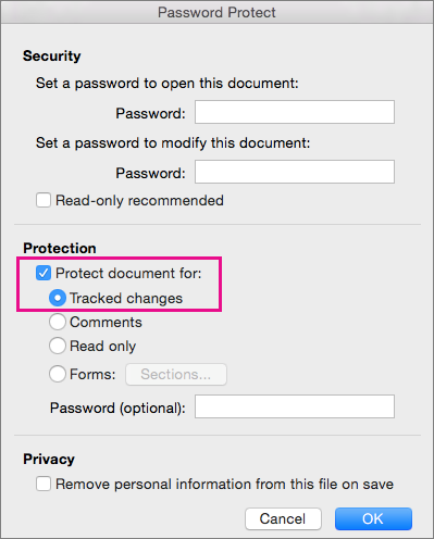 Password Protect dialog box with Protect document for: and Tracked changes highlighted.