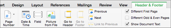When you double-click in a header or footer area, Word displays the Header & Footer tab.