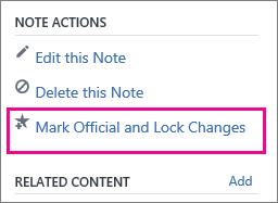 Screenshot of Note Actions menu