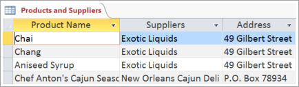 Screen snippet of Products and Suppliers data