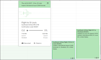 Screenshot of Outlook showing flight information.