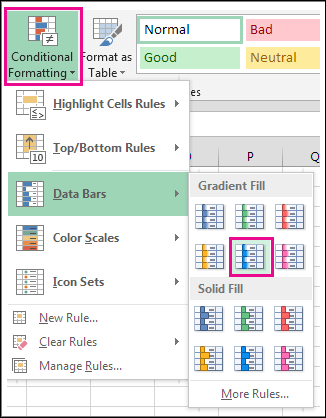 Conditional formatting Data Bar Style Gallery