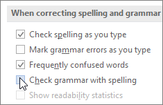 Grammar check boxes