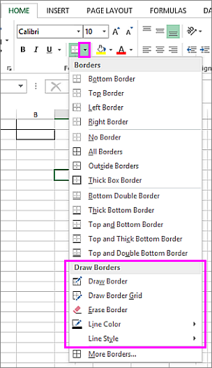 Border drop down menu to pick draw border options