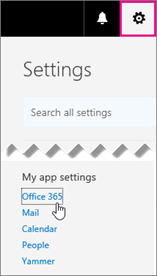 Choose Office 365 settings