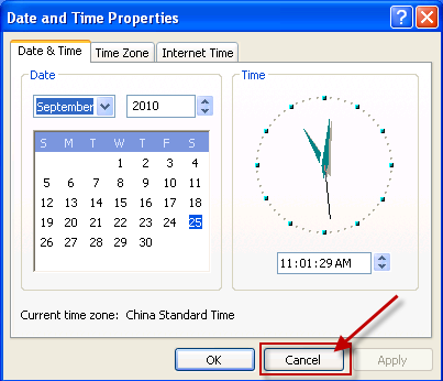 Date and Time Properties dialog box