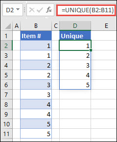 Example of using =UNIQUE(B2:B11) to return a unique list of numbers