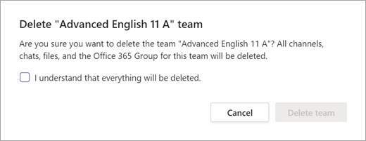 Delete team confirmation agreement