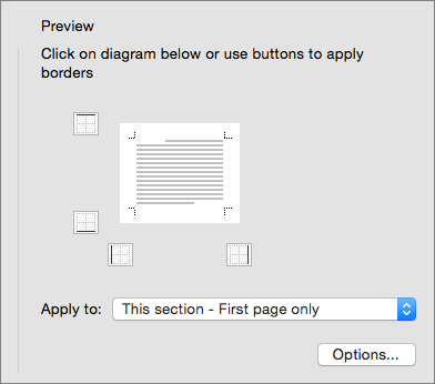 The Preview box in the Borders and Shading dialog box is shown