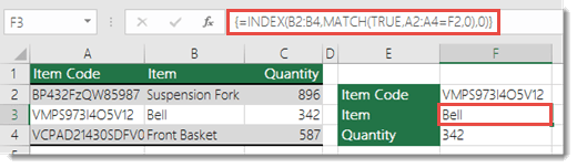 Use INDEX and MATCH to look up values more than 255 characters