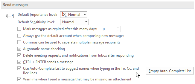 Choose File, Options, Mail, and under Send messages, clear the Auto-Complete List check box.