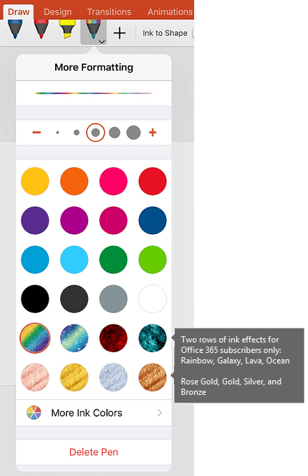 Ink colors and effects for drawing with ink in Office on iOS