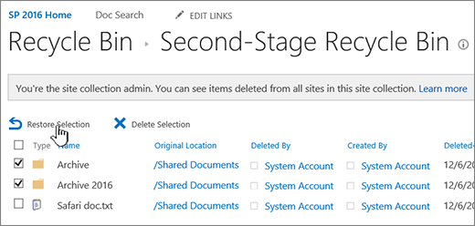 SharePoint 2nd level recycle with restore button highlighted