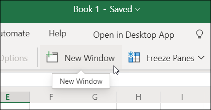 New Window command on the ribbon in Excel for the web