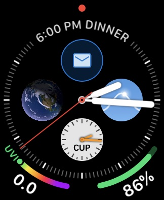 Apple Watch face with Outlook information showing