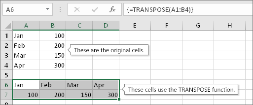 Move rows and columns within a table