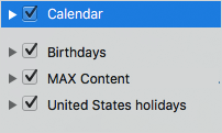Calendar category list