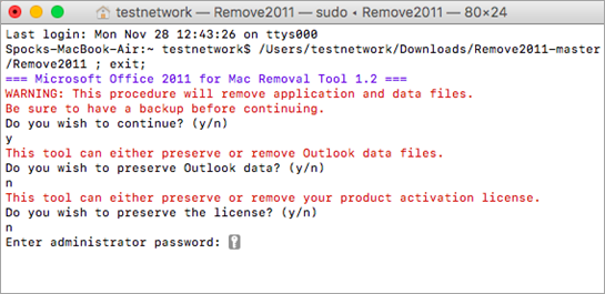 Run the Remove2011 tool using Control + Click to open.