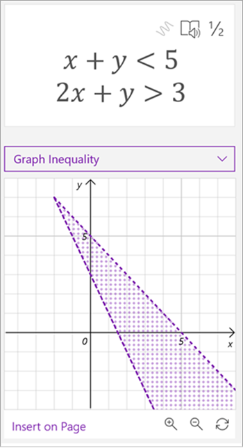 screenshot of math assistant generated graph of the equations x plus y is less than 5, 2x plus y is greater than 3, both lines are plotted and the area between them is shaded