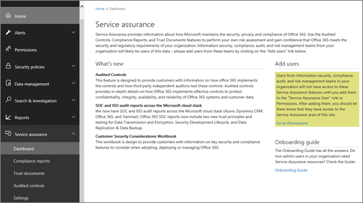 Screenshot of the Service assurance dashboard of the Office 365 Security & Compliance Center, which includes information about what's new, and links to add users and to the onboarding guide.