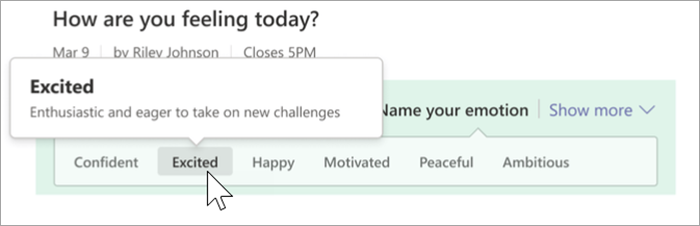 "Screenshot of the student view of reflect. A cursor hovers over the word ""excited"" and a bubble shows the definition ""Enthusiastic and eager to take on new challenges"""
