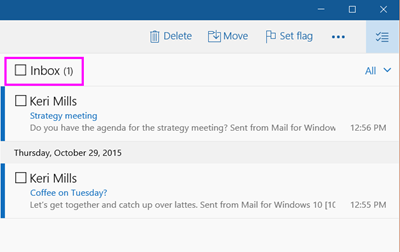How do I select all messages in a folder in Mail for Windows