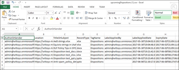 Exported disposition data in Excel