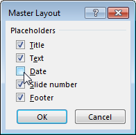 Show or hide slide master placeholders