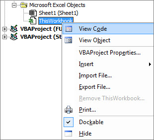 Project Explorer window showing code for this Excel workbook