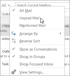Screenshot shows the Unread Mail option selected from the All drop-down menu on the Inbox ribbon.