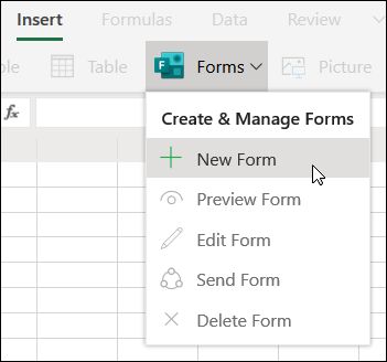 Insert New Form option in Excel Online