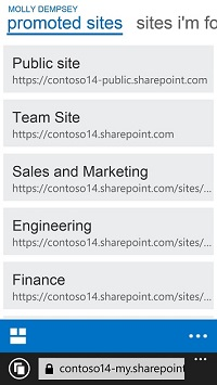Promoted sites in SharePoint Online on a mobile device