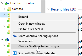 A screenshot of the right-click menu in File Explorer with 'Choose OneDrive folders to sync' selected.