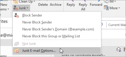 A screenshot of the Junk Email Options button