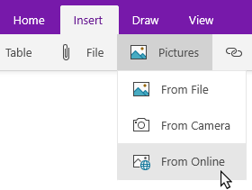 Insert tab showing the Pictures drop down with Online highlighted.