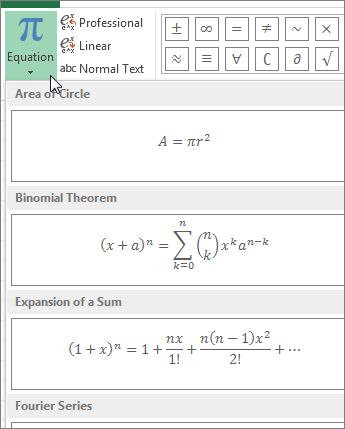 prebuild equation templates located under Equation button