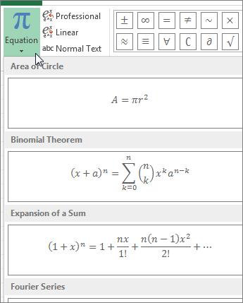 prebuild equation templates located under Equation button