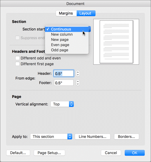 The document dialog box contains settings for managing sections, headers & footers