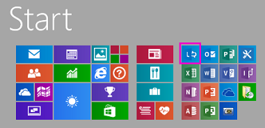 Start menu with Lync tile highlighted
