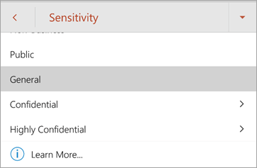 Screenshot of sensitivity labels in Office for Android