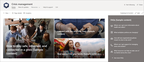 The home page of the Crisis management site template