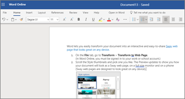 A document with images in Word Online
