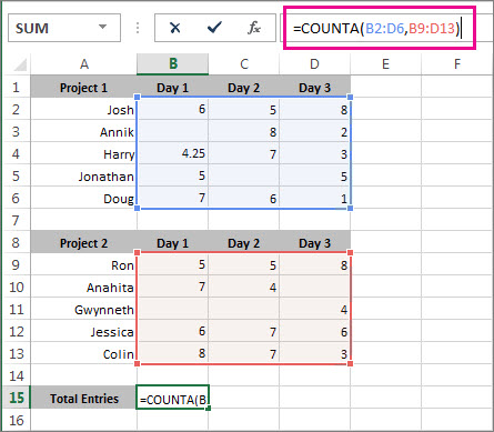 Using COUNTA to count 2 cell ranges
